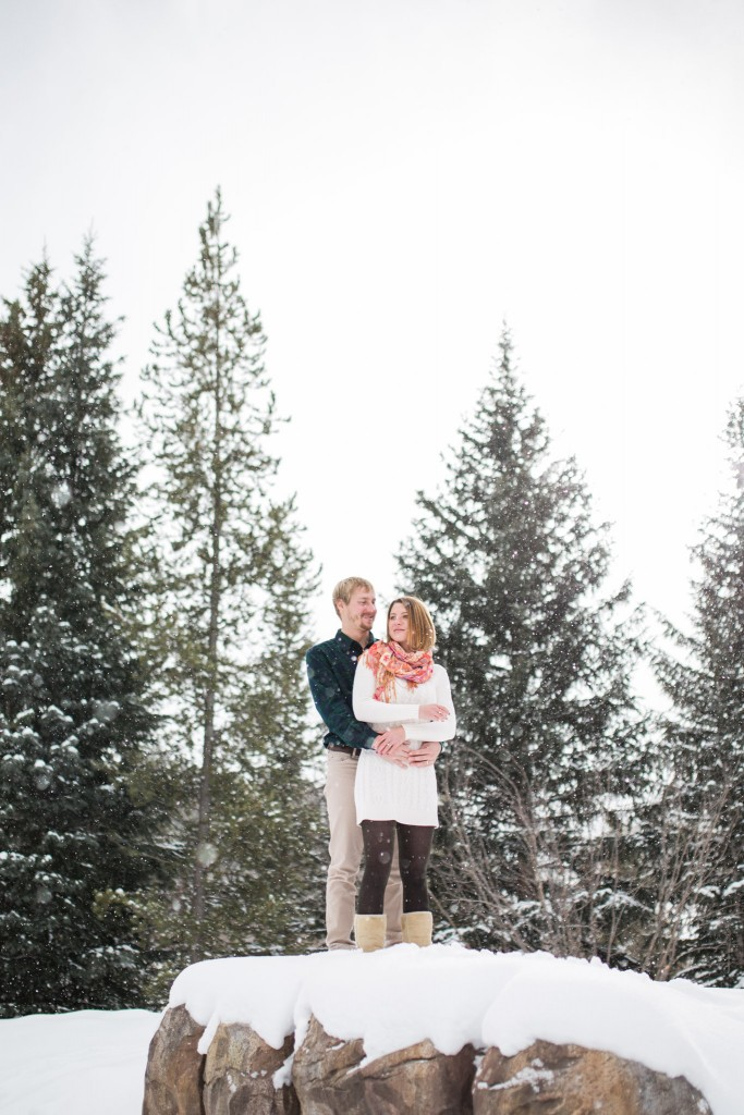 Colorado mountain engagement session in winter.