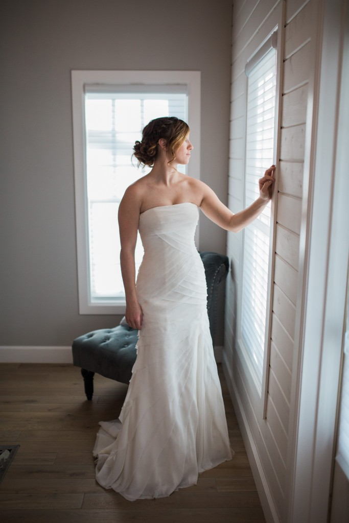 Beautiful bride at the cottage at The Barn at Raccoon Creek