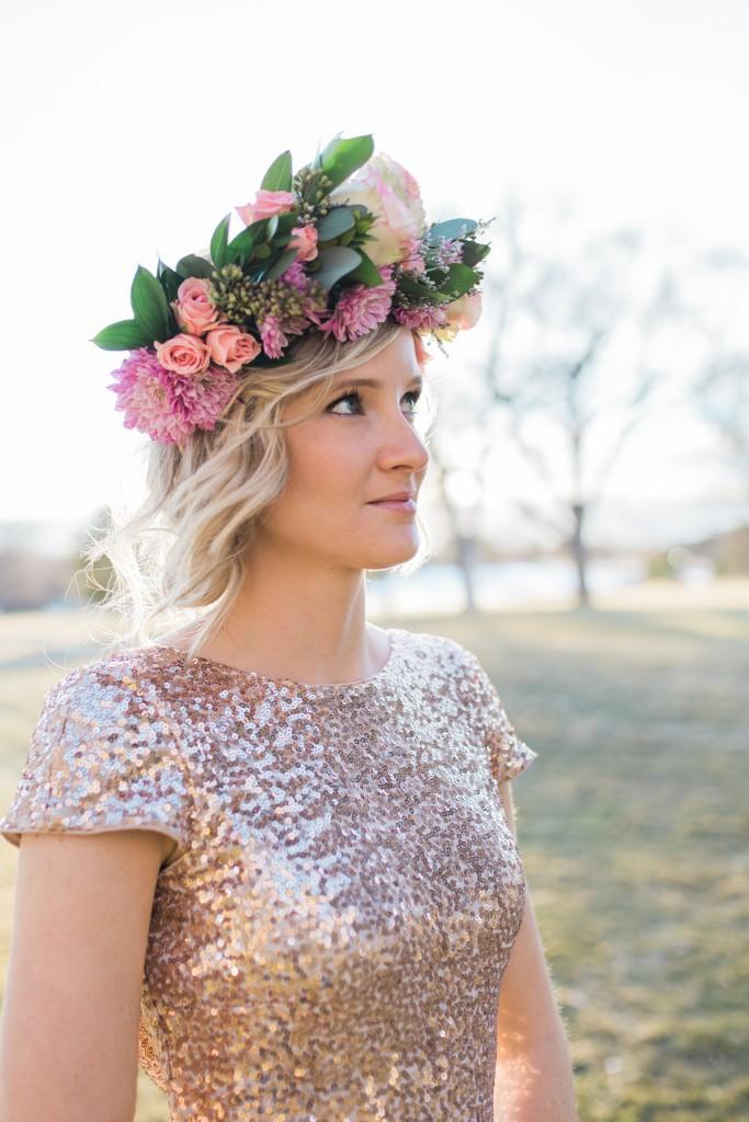 Professional wedding photographer floral head piece