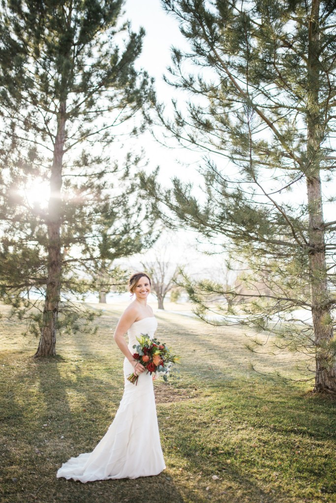 Bride at The Barn at Raccoon Creek in winter.